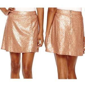 NWT Decree Rose Gold Full Sequin Flare Mini Skirt